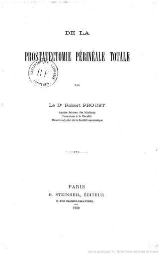 Couverture du livre de Robert Proust De la prostatectomie périnéale totale