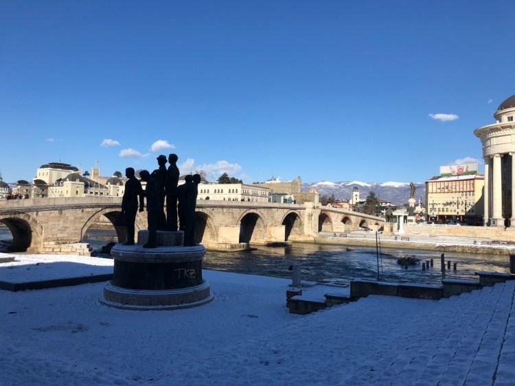 Skopje sous la neige