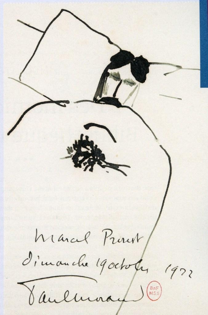 Dessin de Proust sur son lit de mort par Paul Morand