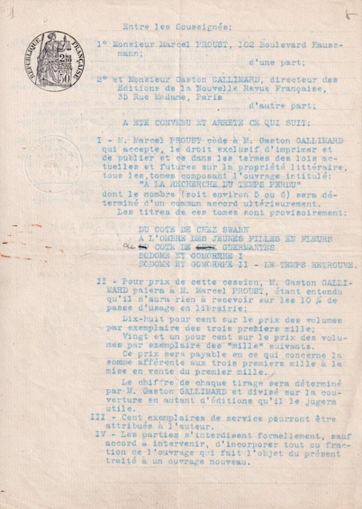 Contrat d'édition Proust-Gallimard