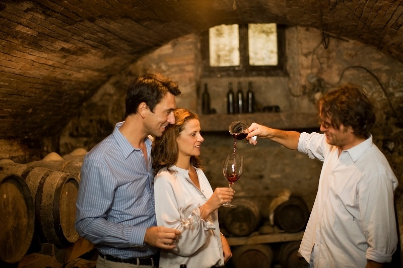 Chateauneuf du Pape one couple tasting wine in cellar