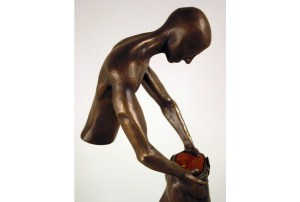 """detail photo of sculpture """"Age of Man"""", bronze edition"""