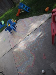 Chalk art and shadows.