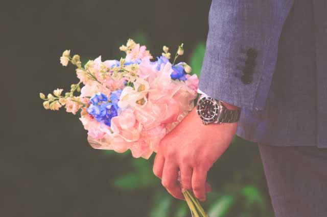 新郎 結婚 結婚式 花 ブーケ 男性