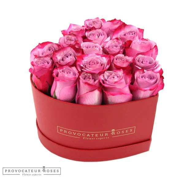 Caja corazon rosas frescas deep purple