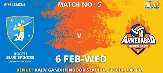 Kochi Blue Spikers vs Ahmedabad Defender Live Streaming Highlights