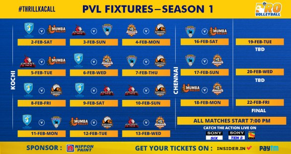 Pro volleyball League 2019 Schedule Infographic