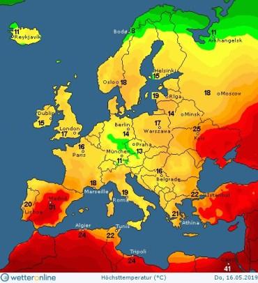 16-го травня Україна та Іспанія будуть найтеплішими в Європі, але в Тернополі буде дощ