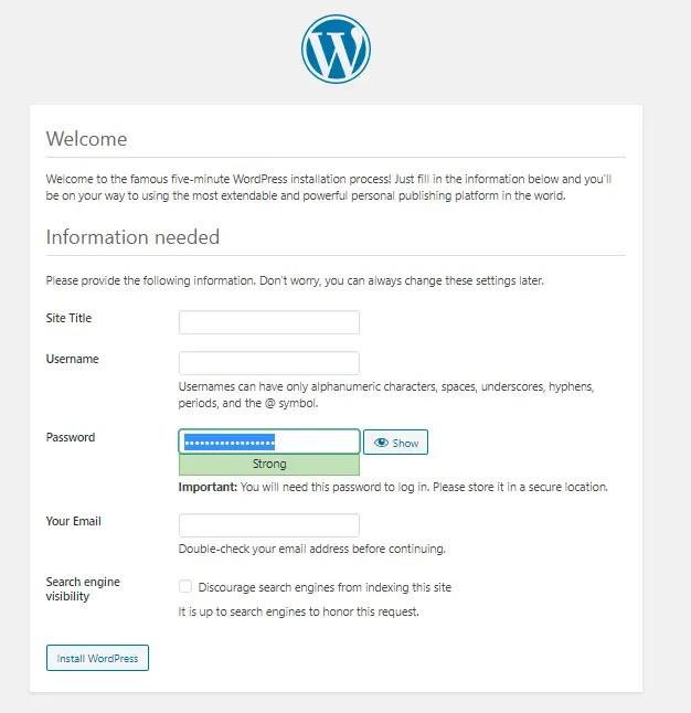 configure WordPress Admin credentials and Website Name