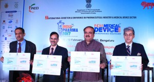 Dignitaries at launch of logo of the 2nd edition of Pharma and India Medical Device  2017, in Bengaluru