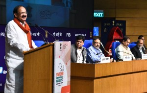M. Venkaiah Naidu addressing at the Swachh Survekshan – 2017 awards ceremony, in New Delhi on May 04, 2017.