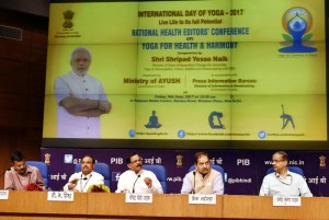 Shripad Yesso Naik addressing at the inauguration of the National Health Editors' Conference on Yoga