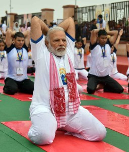 The Prime Minister, Narendra Modi participates in the mass yoga demonstration at the Ramabai Ambedkar Maidan, on the occasion of the 3rd International Day of Yoga - 2017, in Lucknow on June 21, 2017.