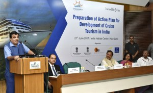 "Nitin Gadkari addressing the inaugural session of a workshop on ""Action Plan for Development of Cruise Tourism in India"", in New Delhi on June 27, 2017."
