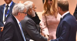 Prime Minister Narendra Modi and Advisor to the President, Ivanka Trump, will inaugurate the GES 2017 co-hosted by India and USA, which is likely witness 1600 delegates comprising of entrepreneurs and investors and other dignitaries at HICC in November 2017. File Picture- in which the Prime Minister, Narendra Modi is seen meeting with Ivanka and other Leaders' of G-20 Nations, at the second day Plenary Session the 12th G-20 Summit, at Hamburg, Germany on July 08, 2017.