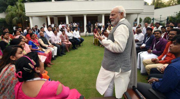 Seen in the picture Peoples Prime Minister  Narendra Modi interacting with the beneficiaries of Pradhan Mantri Mudra Yojana, in New Delhi on April 11, 2018. PM to Visit Aspirational District in Chhattisgarh and launch Health and Wellness Centre under Ayushman Bharat on 14 April 2018.