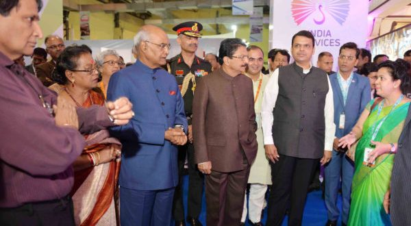 The President, Ram Nath Kovind visiting after inaugurating the Global Exhibition on Services-2018, at Mumbai, in Maharashtra on May 15, 2018. The Governor of Maharashtra, C. Vidyasagar Rao, the Union Minister for Commerce & Industry and Civil Aviation, Suresh Prabhakar Prabhu, the Chief Minister of Maharashtra, Devendra Fadnavis and other dignitaries are also seen.