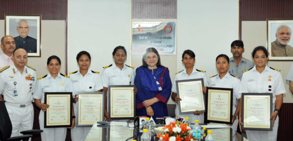 Union Minister for Women and Child Development- Maneka Sanjay Gandhi with the members of the INSV Tarini team as a part of the Indian Navy's unique project 'Navika Sagar Parikrama', after conferring the Nari Shakti Puraskar, at a function, in New Delhi on May 24, 2018.