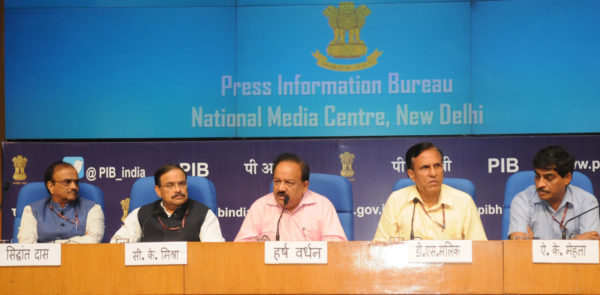 The Union Minister for Science & Technology, Earth Sciences and Environment, Forest & Climate Change, Harsh Vardhan addressing the Curtain Raiser Press Conference in the run-up to World Environment Day, in New Delhi on May 25, 2018. The Secretary, Ministry of Environment, Forest and Climate Change, Shri C.K. Mishra and other dignitaries are also seen.