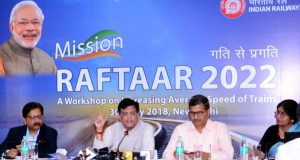 Union Minister for Railways, Coal, Finance and Corporate Affairs, Piyush Goyal addressing a press conference on 'Mission Raftaar 2022', a workshop of the Ministry of Railways, in New Delhi on May 30, 2018. Chairman, Railway Board, Ashwani Lohani and the Member (Traffic), Railway Board, Mohd Jamshed are also seen.