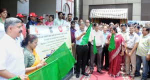 The Chairman, Railway Board, Ashwani Lohani along with the Chairperson, National Commission for Protection of Child Rights, Stuti Kacker flagging off a rally, at the launch of an awareness campaign for Protection of Children in Contact with Railways, in New Delhi on June 07, 2018.	 The General Manager, Northern Railway, Shri Vishwesh Chaube and senior officials are also seen.