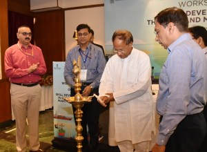 The Member of Parliament (Lok Sabha), Andaman and Nicobar Islands, Bishnu Pada Ray lighting the lamp.