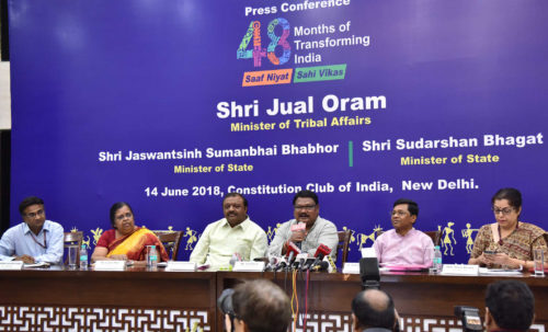 The Union Minister for Tribal Affairs, Jual Oram addressing a press conference on the achievements of the Ministry of Tribal Affairs, during the last four years, in New Delhi on June 14, 2018. The Ministers of State for Tribal Affairs, Shri Sudarshan Bhagat & Shri Jaswantsinh Sumanbhai Bhabhor, the Secretary, Ministry of Tribal Affairs, Ms. Leena Nair and other dignitaries are also seen.