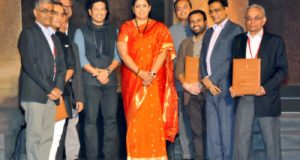 "Seen in the picture is Union Minister for Textiles, Smriti Irani at the textiles show ""artisan Speak"", at Elephanta Caves, in Mumbai on January 28, 2018."