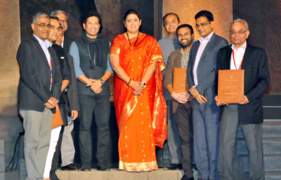"""Seen in the picture is Union Minister for Textiles, Smriti Irani at the textiles show """"artisan Speak"""", at Elephanta Caves, in Mumbai on January 28, 2018."""