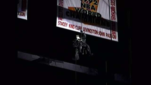 Sting repels from rafters for the very first time on WCW Monday Nitro in Chicago's United Center, January 20, 1997