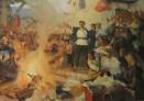 Cuadro que muestra la quema de los títulos de la propiedad de la tierra durante la Revolución de 1949