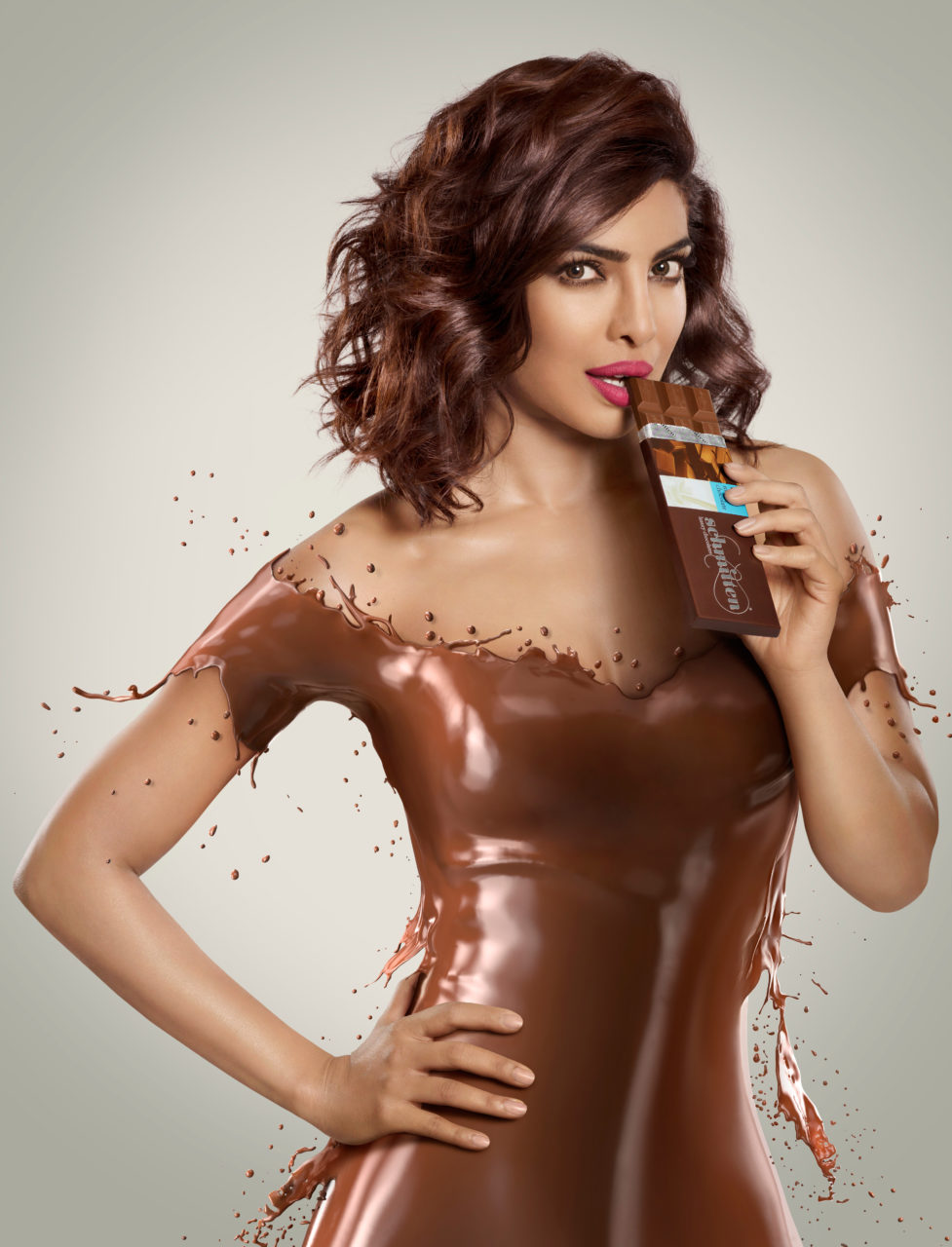 priyanka chopra covered in chocolate shcmitten ad could be made as one of our freelance graphic design jobs
