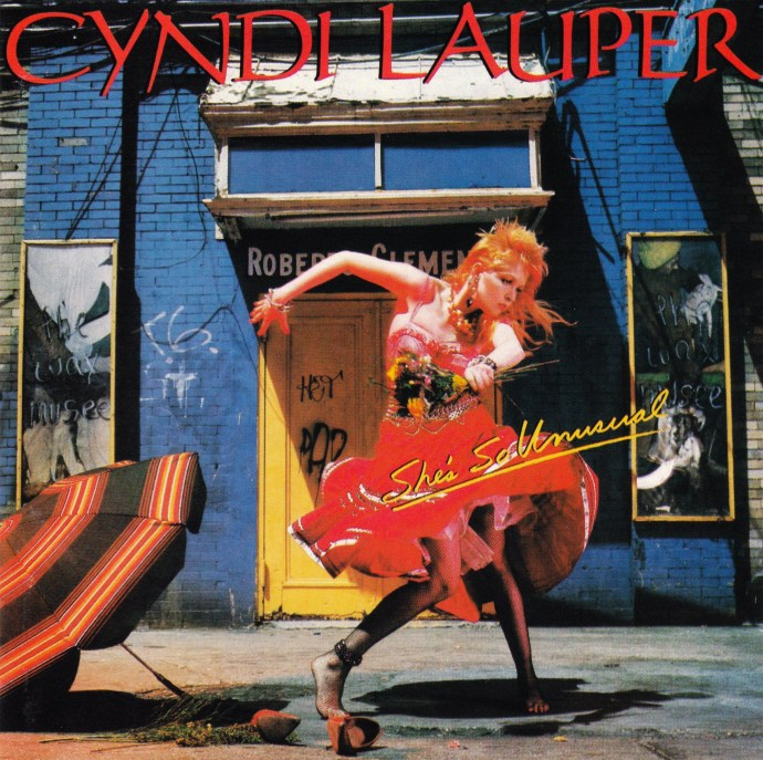 She's So Unusual by Cyndi Lauper, 1983, photography by Annie Leibovitz, art direction by Janet Perr.