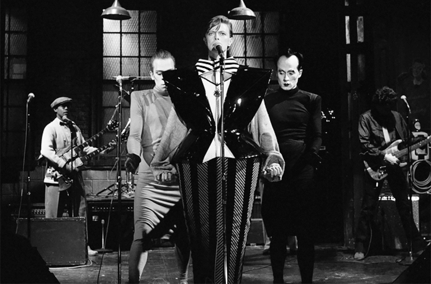 David Bowie, with Klaus Nomi and Joey Arias, on Saturday Night Live, 1979.