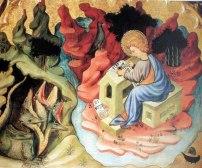 Joan Mates, Retaule dels sants Joans, Sant Joan Evangelista a Patmos, primer quart s. XIV, Musée Goya, Castres