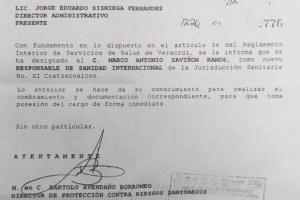 Personal de SESVER confirmó que en la Oficina de Sanidad Internacional ha sido designado como Jefe, Marco Antonio Saviñón Ramos, sobrino del titular de los Servicios de Salud de Veracruz, Roberto Ramos Alor,