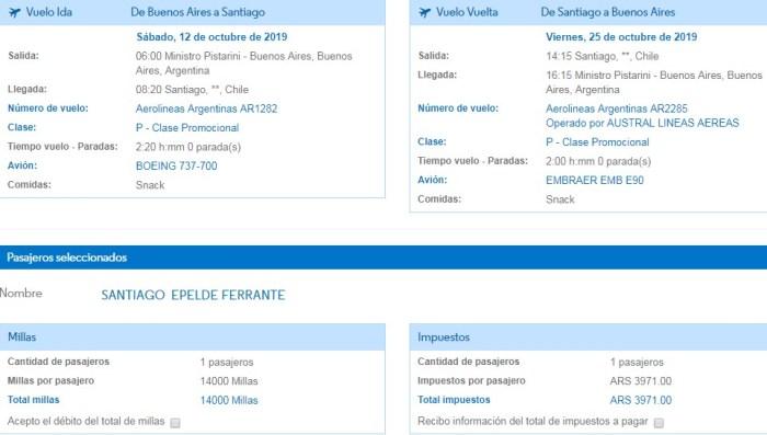 Hoy vamos a analizar la promoción de Aerolíneas Argentinas en la cual nos venden millas 3x1. ¿Que quiere decir esto? Que por cada 1.000 millas que compremos, nos acreditarán 3.000 Para poder realizar el análisis, vamos a tomar a Santiago de Chile como destino de nuestro viaje tipo y vamos a desarrollar 2 alternativas: 1) compra total de las millas necesarias 2) compra de un pasaje sin millas. Y de esta forma veremos que nos conviene hacer. Empecemos! Compra total de las millas necesarias La promoción nos permite comprar a partir de 1.000 millasy hasta65.000 millas, y ese monto será triplicado. Antes que nada debemos decir que el pasaje mas barato con millas a Santiago de Chile nos cuesta 14.000 millas + impuestos Para conseguir 14.000 millas, vamos a necesitar comprar 5.000, ya que al tripicarlas nos quedarían 15.000 (debemos comprar 1.000 de más, ya que si compramos 4.000 nos quedarían 12.000 y no nos alcanzaría). Vamos a simular la compra:  Luego de tener las millas, vamos a comprar el pasaje y ver cual es el costo de los impuestos, para poder tener el costo total de nuestro viaje con esta alternativa.  De esta manera, si sumamos el costo de la compra de las millas más los impuestos, nos da un costo total de $ Compra de un pasaje sin millas