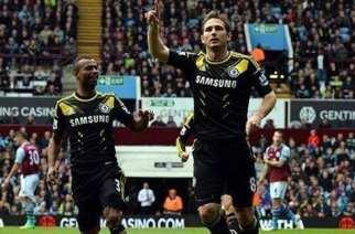 Lampard celebra su segundo gol de hoy   THE SUN