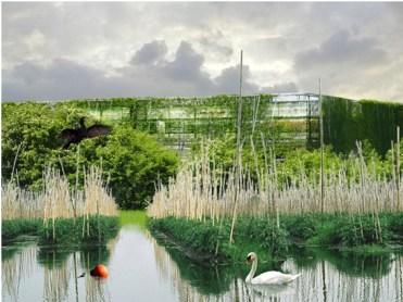 Fotomontaje del estudio Duncan Lewis Scapa Architecture. Vista final del edificio.