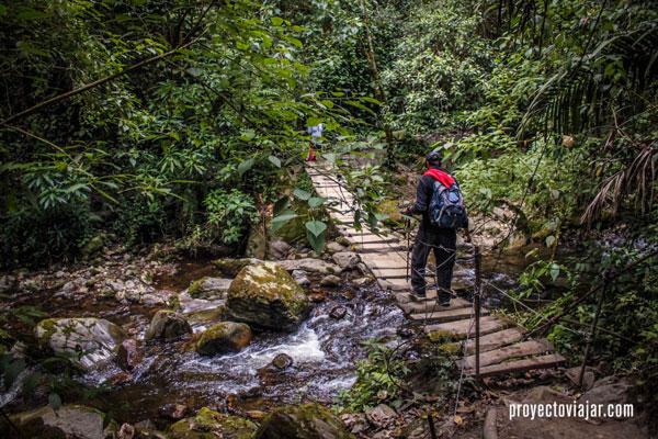 Atravesando arroyos en el Valle del Cocora