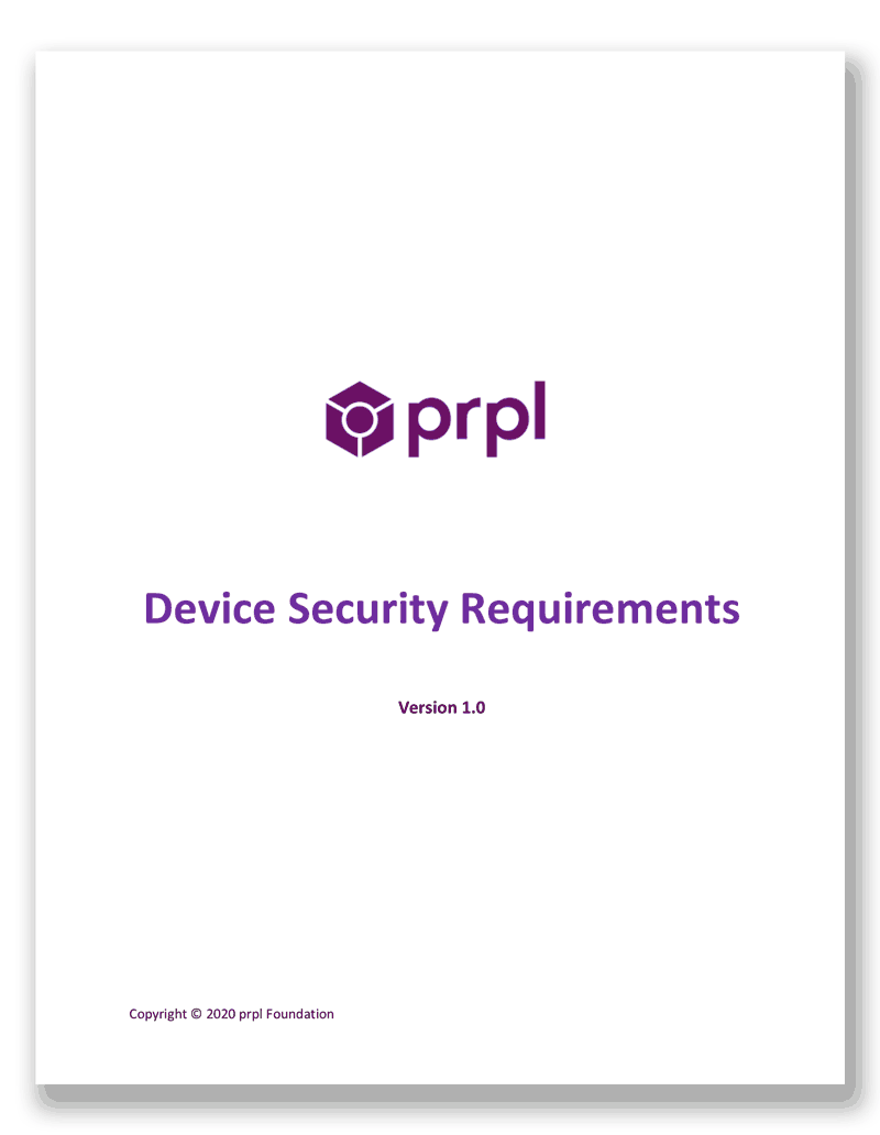 prpl Device Security Requirements v1.0 white paper cover