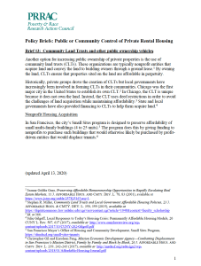 Public or Community Control of Rental Housing Policy Brief No. 3: Community Land Trusts and Other Public Ownership Vehicles (PRRAC, October 2020)