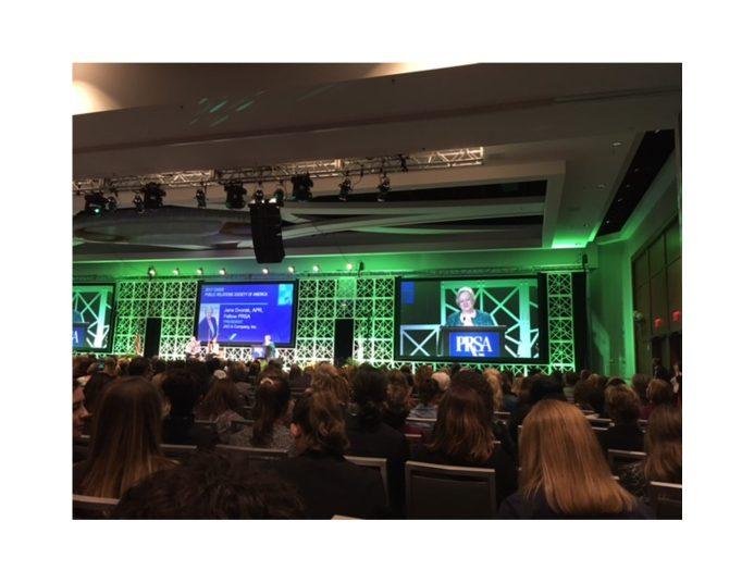 2017 PRSA Chair Jane Dvorak, APR, Fellow, welcomed members to the PRSA International Conference in Boston