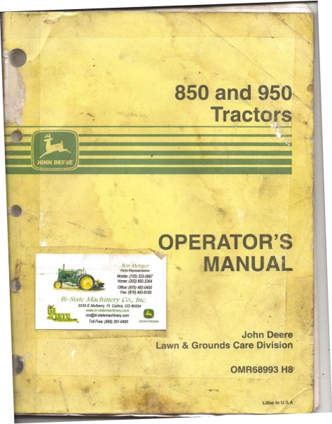 john deere 950 manual cover