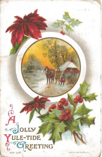 Merry Christmas from Poudre River Stables - jolly yuletide greeting vintage horse postcard