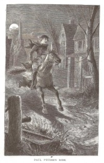 paul revere's' ride 1882 wood cut engraving