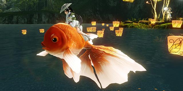 ▲騎乗ペット「金魚」