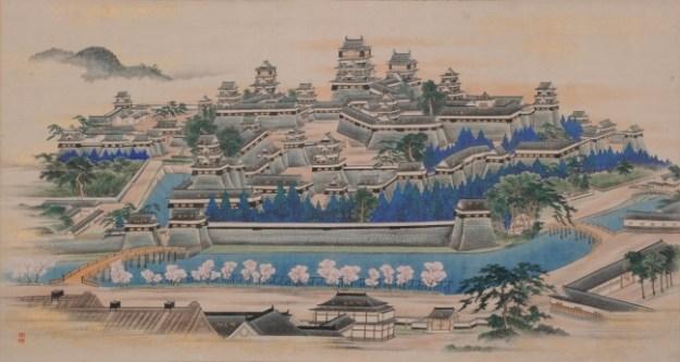 ▲前期展示の赤星閑意筆 熊本城之図(永青文庫蔵)
