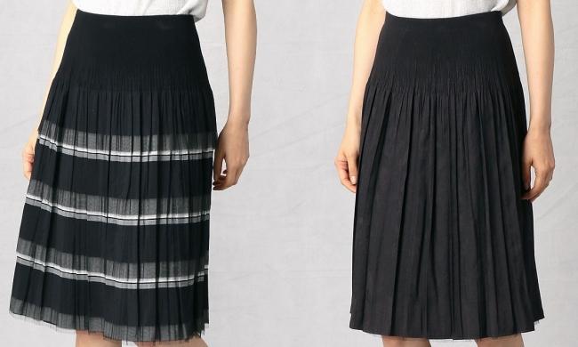 リバーシブルスカート ¥17,200(税込) フリルデザイン(左)と無地(右)のリバーシブルデザイン