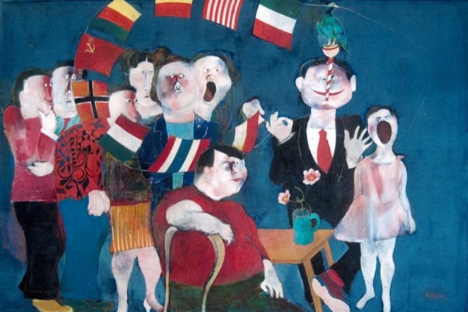加藤博康「大道芸人」130.3×193.3cm(1976年 油彩)